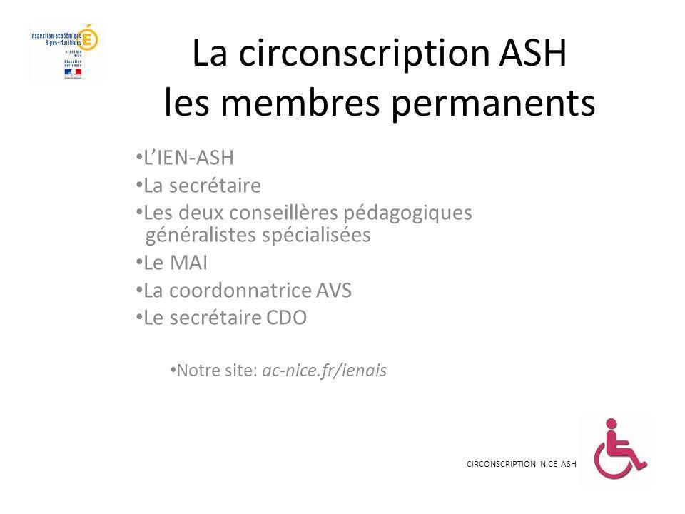 La circonscription ASH les membres permanents