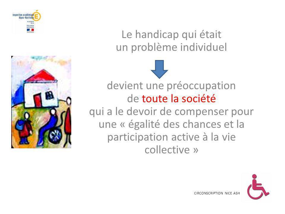 Le handicap qui était un problème individuel devient une préoccupation de toute la société qui a le devoir de compenser pour une « égalité des chances et la participation active à la vie collective »