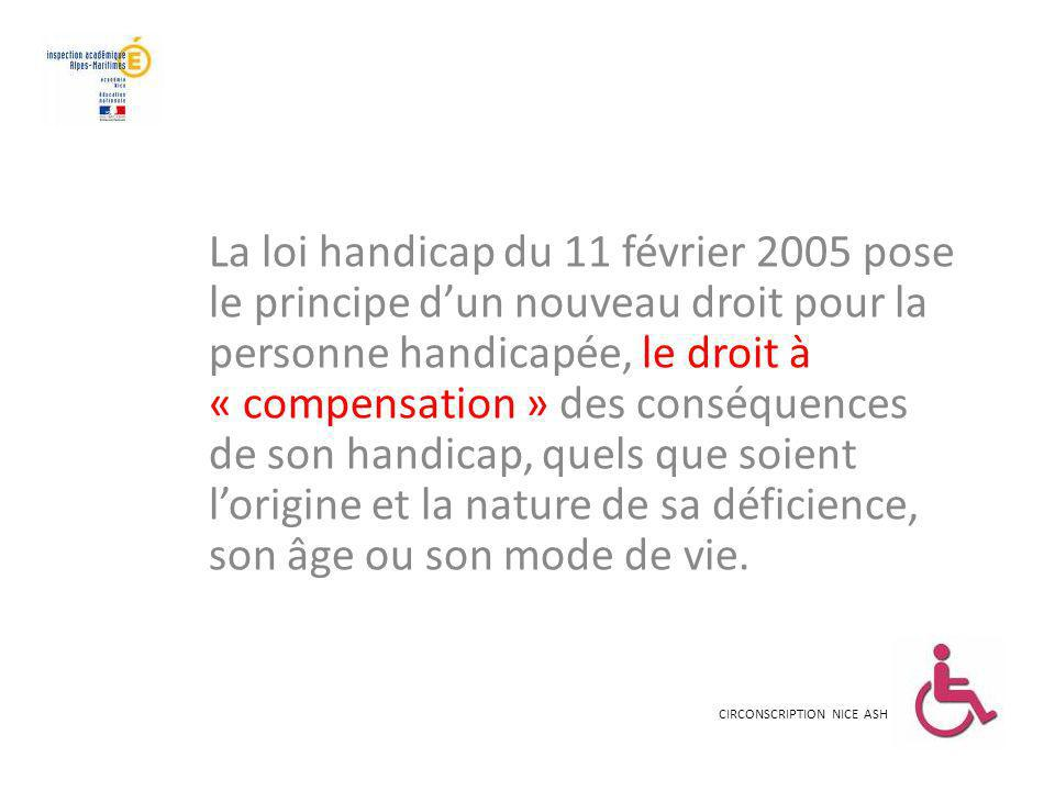 La loi handicap du 11 février 2005 pose le principe d'un nouveau droit pour la personne handicapée, le droit à « compensation » des conséquences de son handicap, quels que soient l'origine et la nature de sa déficience, son âge ou son mode de vie.