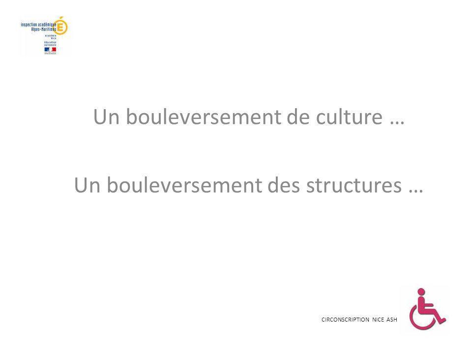 Un bouleversement de culture … Un bouleversement des structures …
