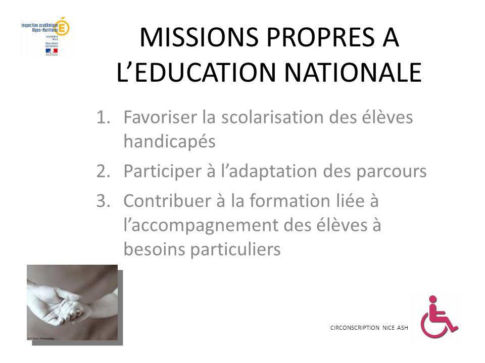 MISSIONS PROPRES A L'EDUCATION NATIONALE
