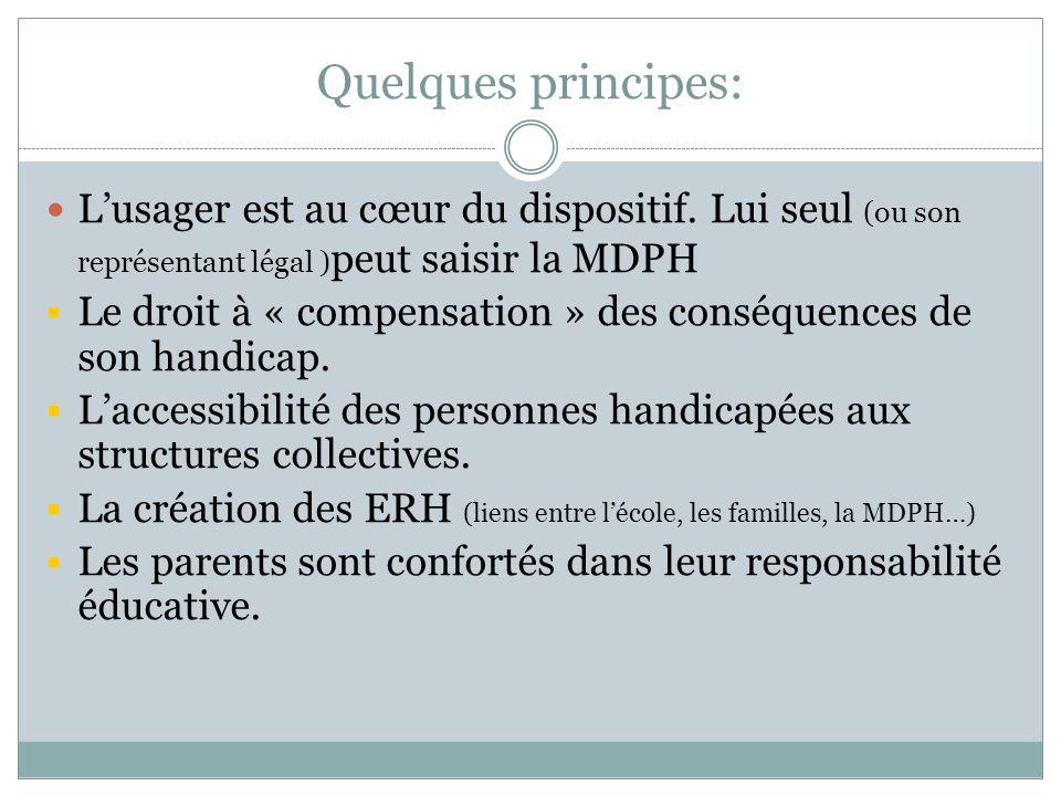 Quelques principes: L'usager est au cœur du dispositif. Lui seul (ou son représentant légal )peut saisir la MDPH.
