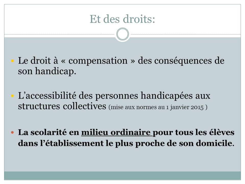 Et des droits: Le droit à « compensation » des conséquences de son handicap.