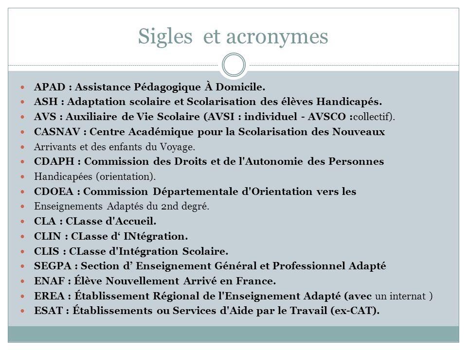 Sigles et acronymes APAD : Assistance Pédagogique À Domicile.