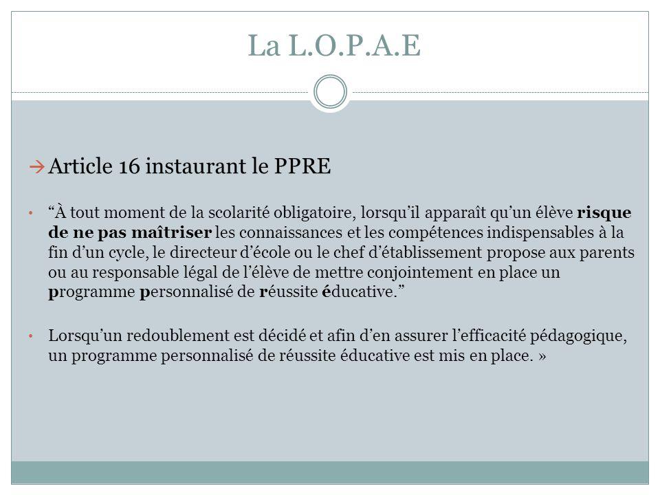 La L.O.P.A.E Article 16 instaurant le PPRE