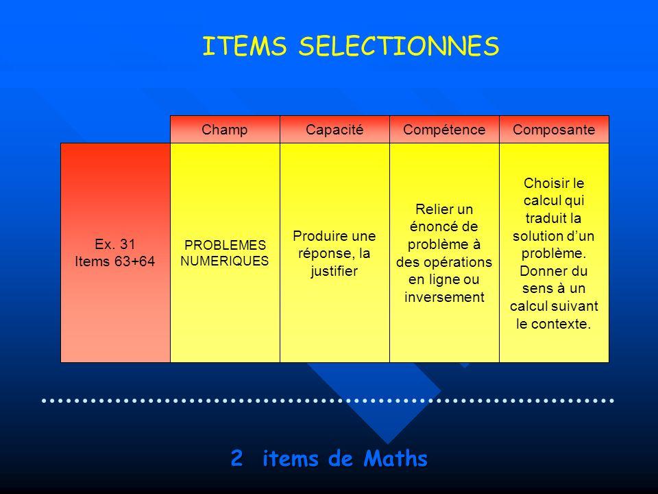 ITEMS SELECTIONNES 2 items de Maths Champ Capacité Compétence