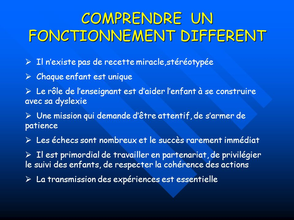 COMPRENDRE UN FONCTIONNEMENT DIFFERENT