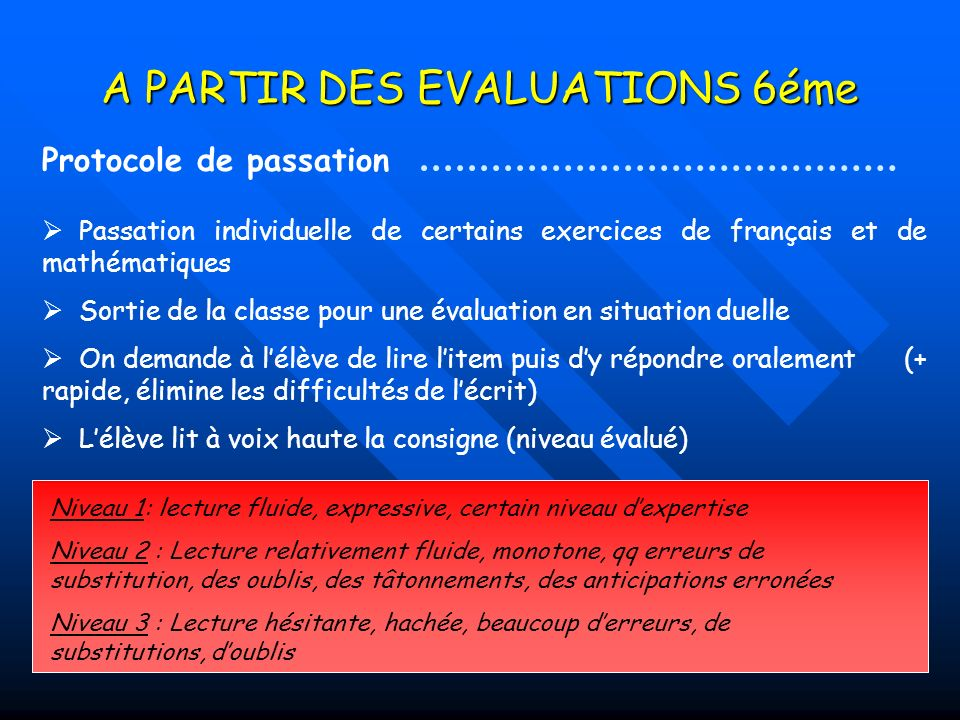 A PARTIR DES EVALUATIONS 6éme