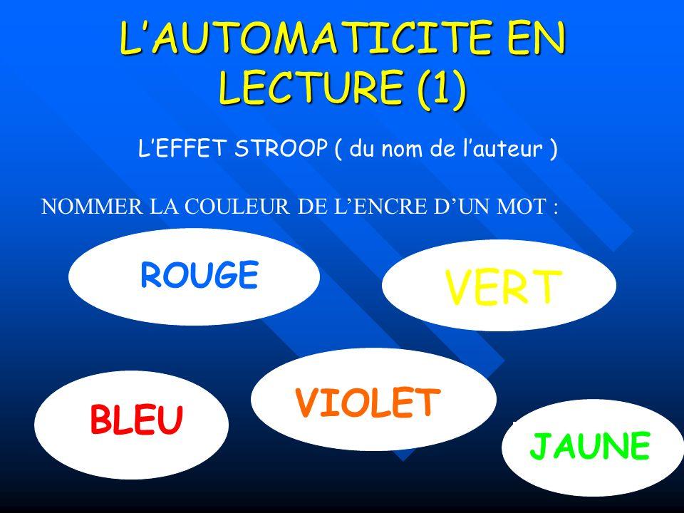 L'AUTOMATICITE EN LECTURE (1)