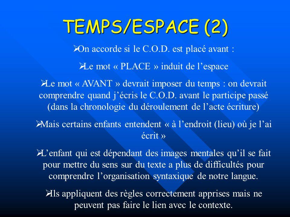 TEMPS/ESPACE (2) On accorde si le C.O.D. est placé avant :