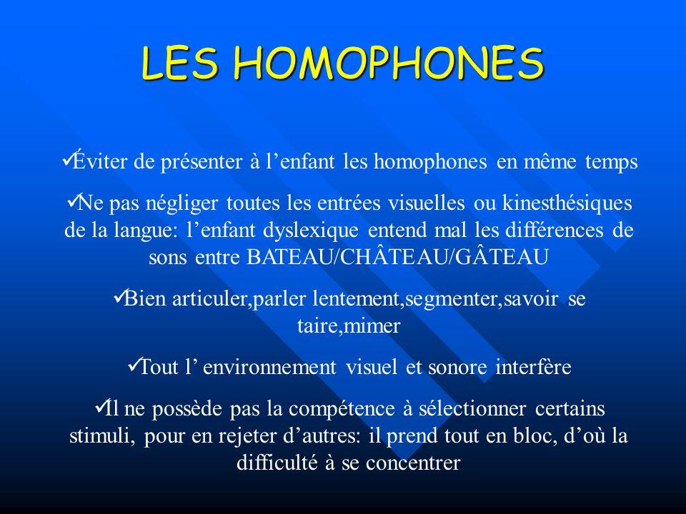 LES HOMOPHONES Éviter de présenter à l'enfant les homophones en même temps.