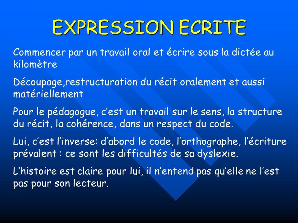 EXPRESSION ECRITE Commencer par un travail oral et écrire sous la dictée au kilomètre.