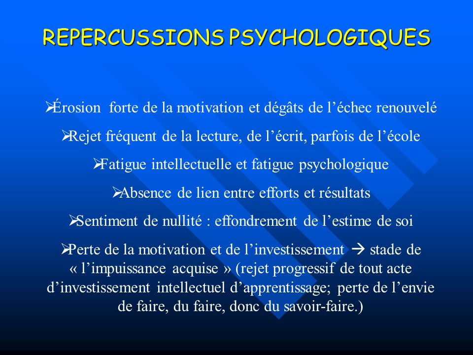 REPERCUSSIONS PSYCHOLOGIQUES