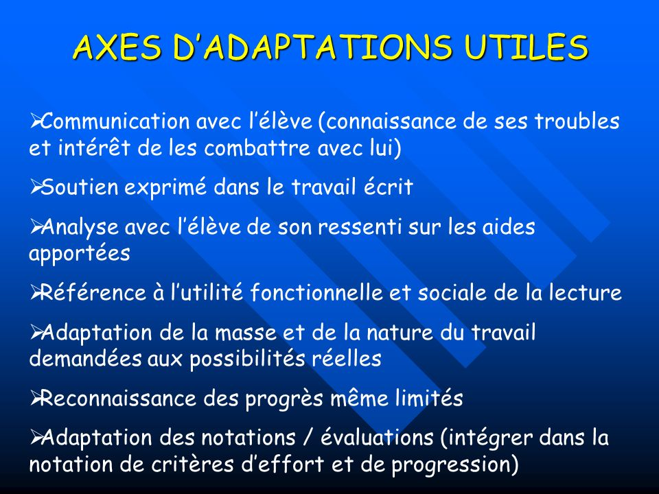 AXES D'ADAPTATIONS UTILES