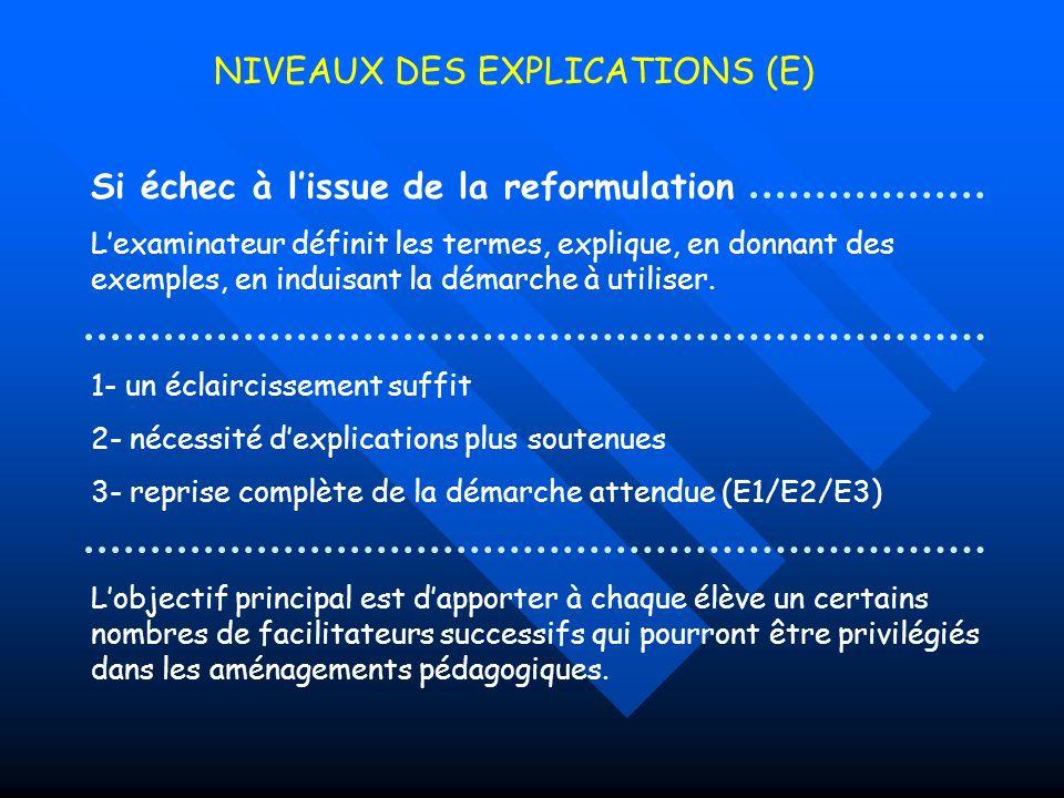 NIVEAUX DES EXPLICATIONS (E)