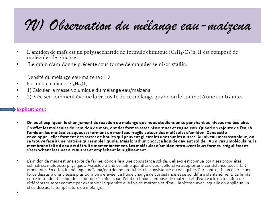 IV) Observation du mélange eau-maizena
