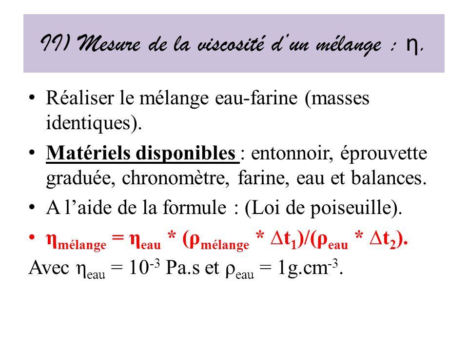 II) Mesure de la viscosité d'un mélange : η.