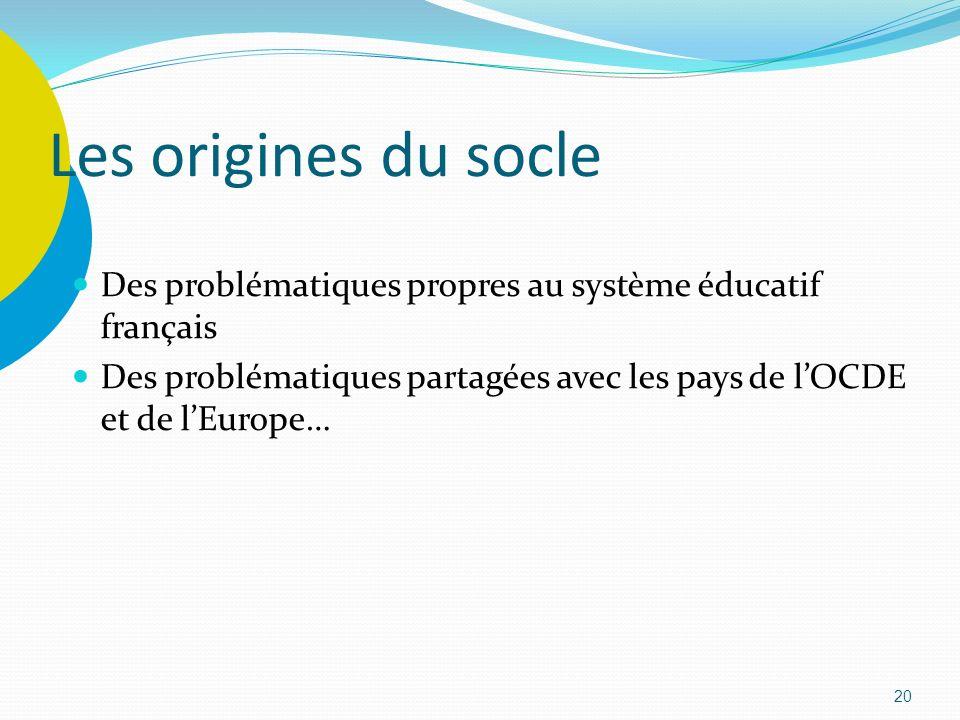 Les origines du socle Des problématiques propres au système éducatif français.