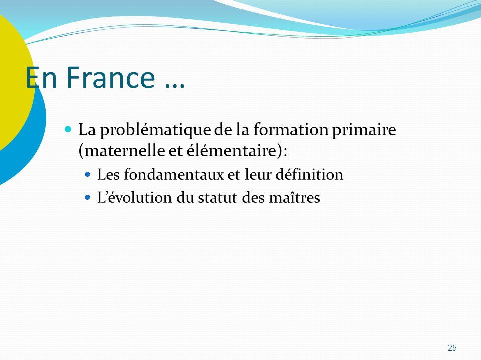 En France … La problématique de la formation primaire (maternelle et élémentaire): Les fondamentaux et leur définition.