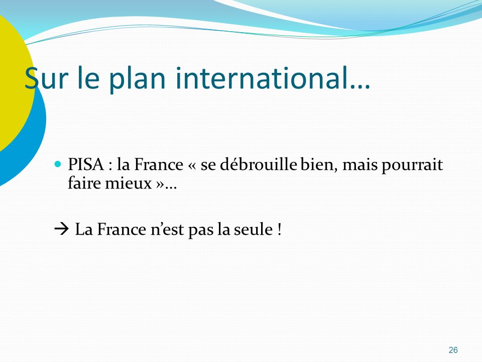 Sur le plan international…