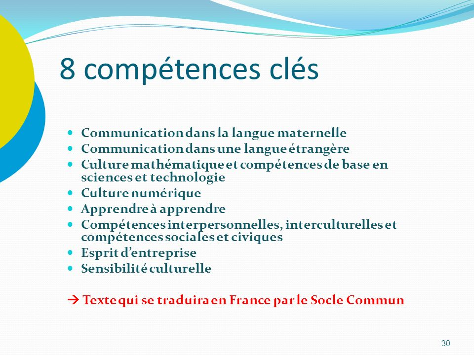 8 compétences clés Communication dans la langue maternelle