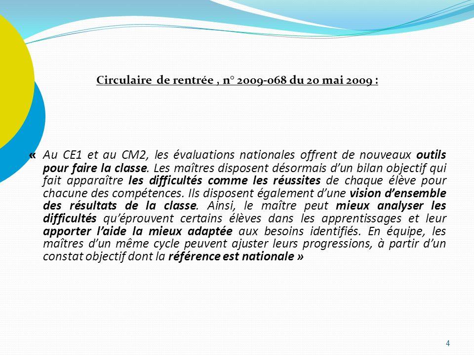 Circulaire de rentrée , n° 2009-068 du 20 mai 2009 : « Au CE1 et au CM2, les évaluations nationales offrent de nouveaux outils pour faire la classe.
