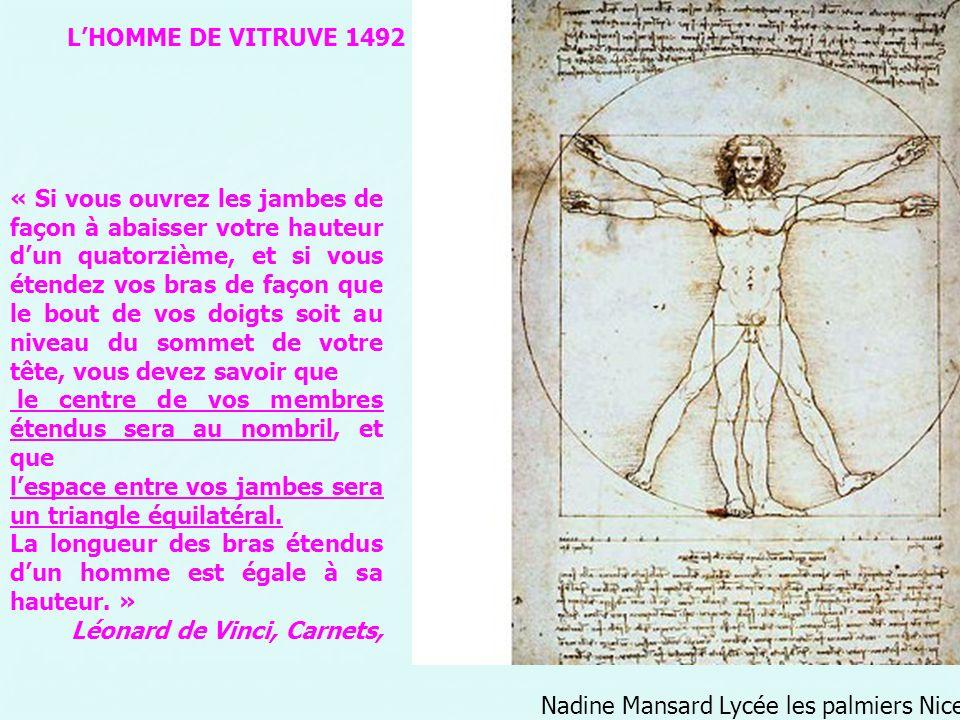 L'HOMME DE VITRUVE 1492