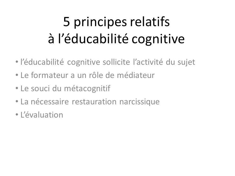 5 principes relatifs à l'éducabilité cognitive