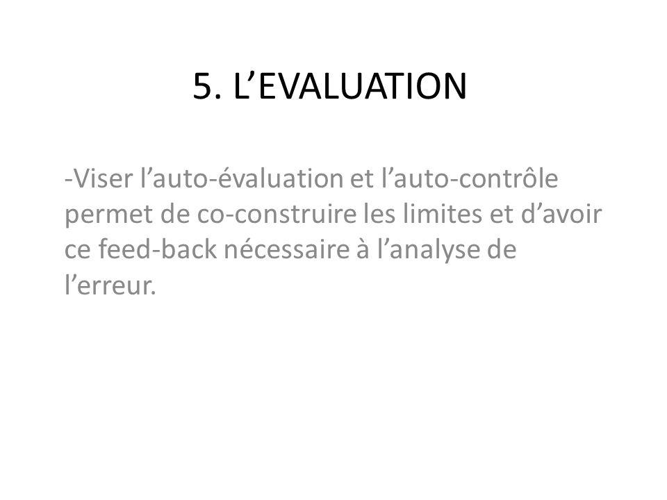 5. L'EVALUATION