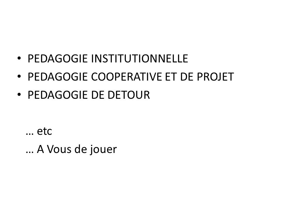 PEDAGOGIE INSTITUTIONNELLE