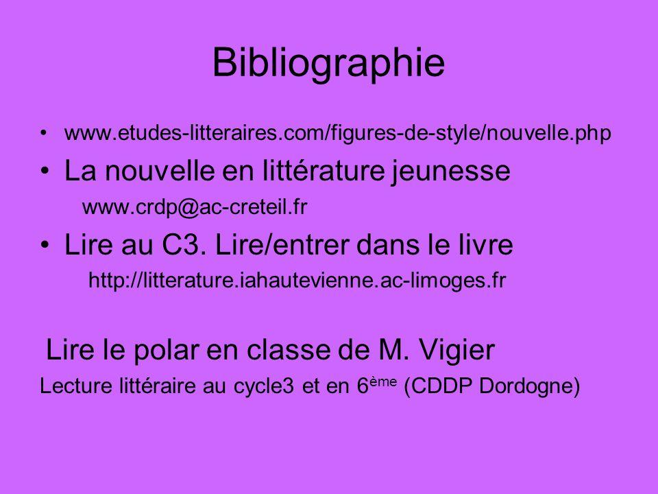 Bibliographie La nouvelle en littérature jeunesse