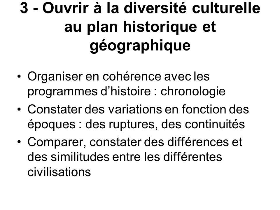 3 - Ouvrir à la diversité culturelle au plan historique et géographique