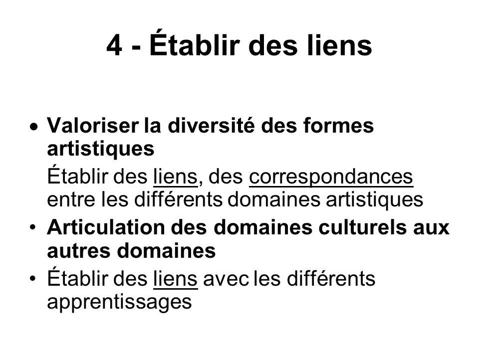 4 - Établir des liens Valoriser la diversité des formes artistiques