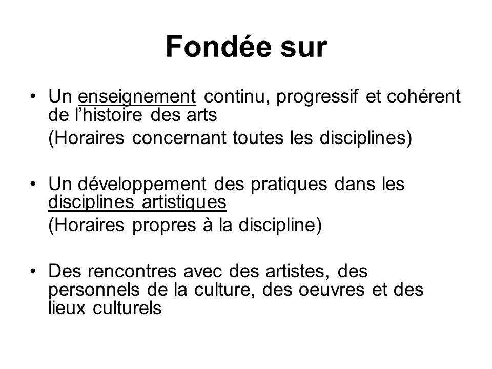 Fondée sur Un enseignement continu, progressif et cohérent de l'histoire des arts. (Horaires concernant toutes les disciplines)