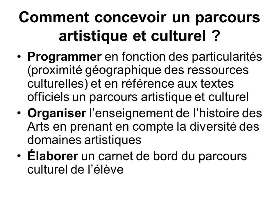 Comment concevoir un parcours artistique et culturel