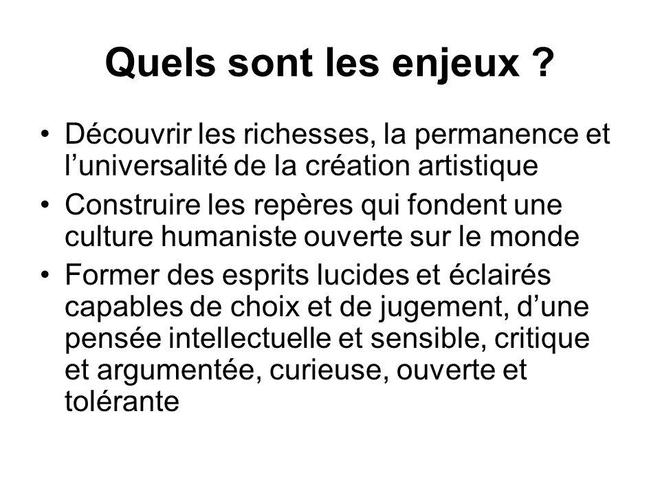 Quels sont les enjeux Découvrir les richesses, la permanence et l'universalité de la création artistique.