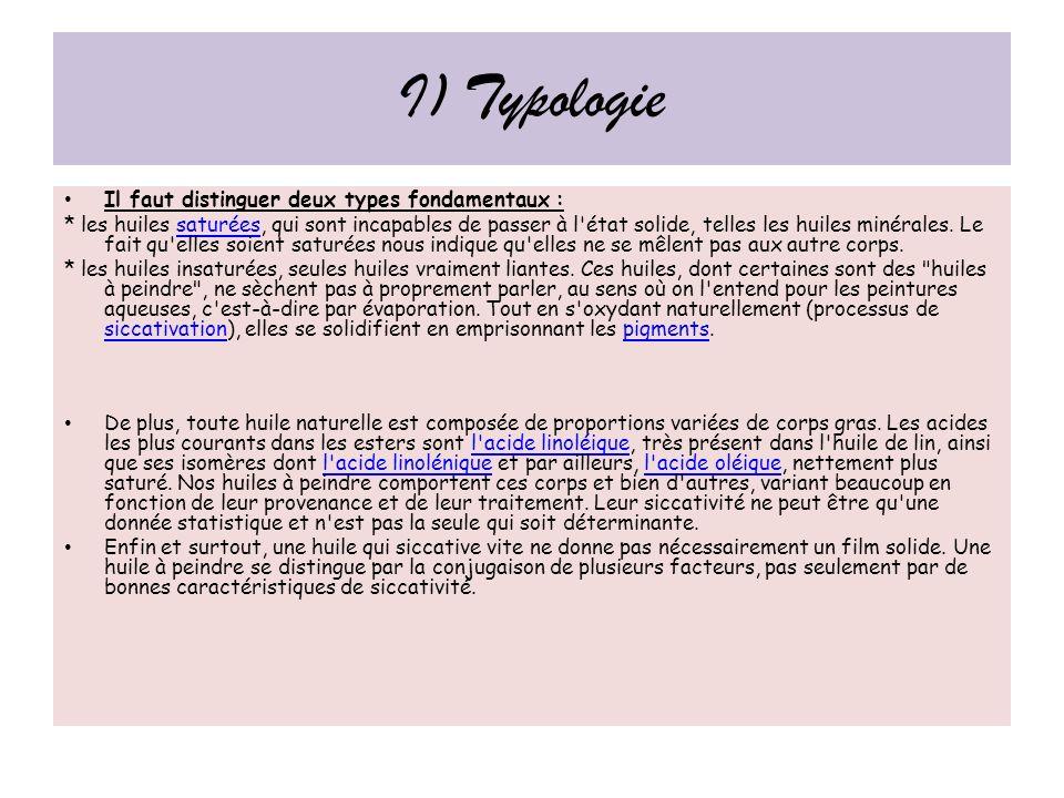 I) Typologie Il faut distinguer deux types fondamentaux :