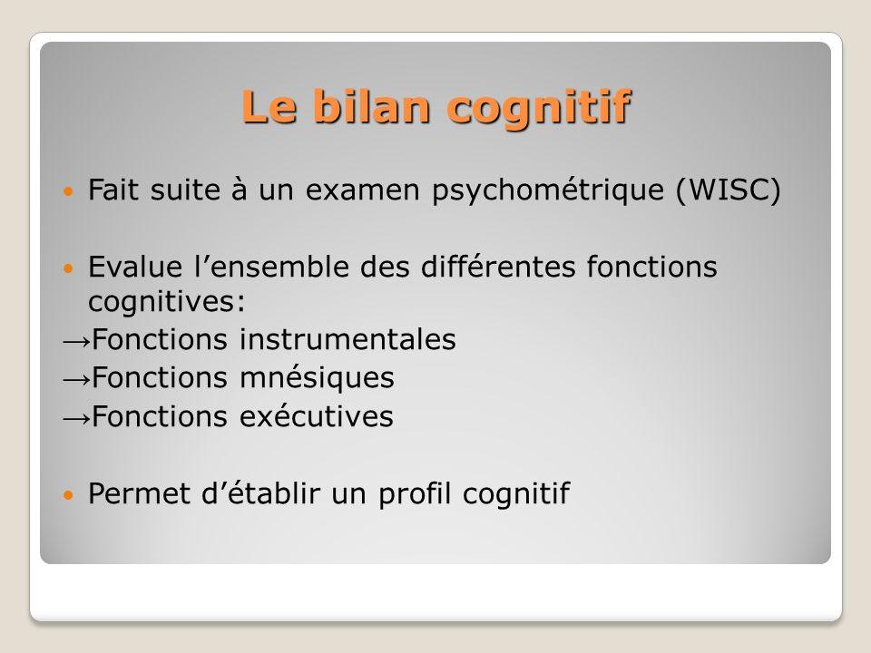 Le bilan cognitif Fait suite à un examen psychométrique (WISC)