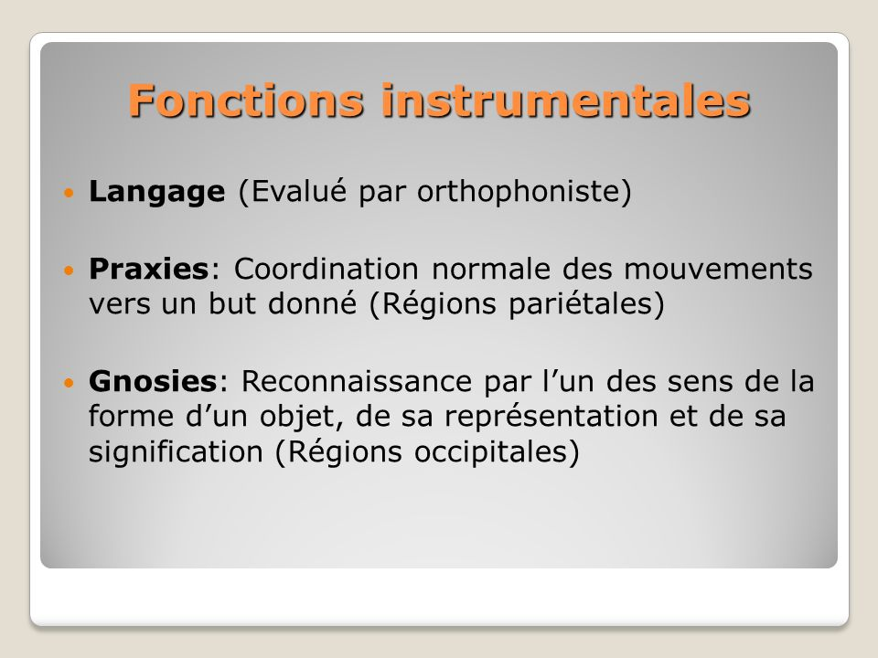 Fonctions instrumentales