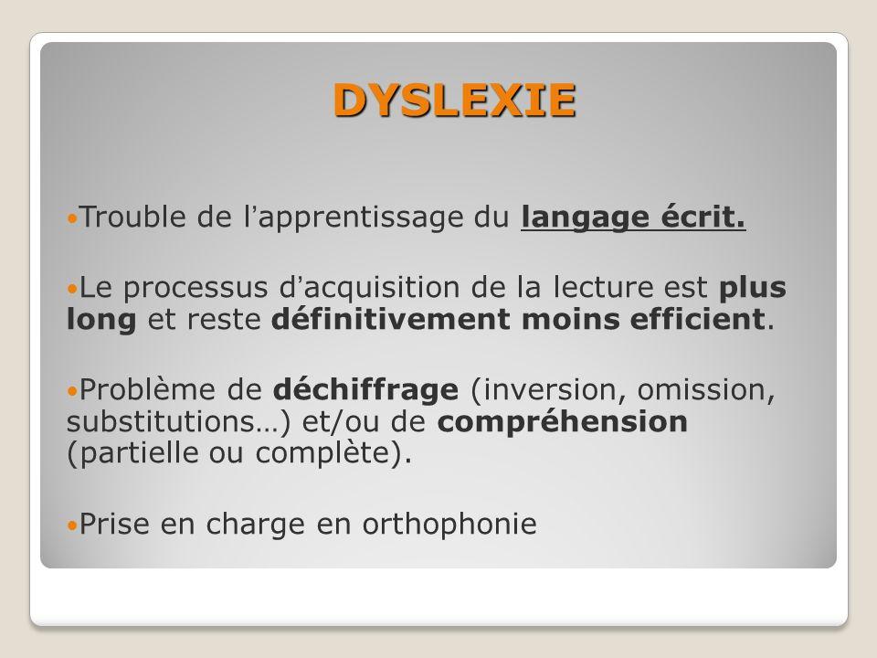 DYSLEXIE Trouble de l'apprentissage du langage écrit.