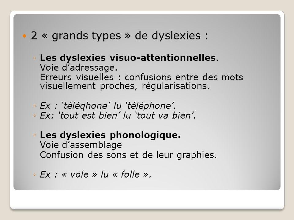 2 « grands types » de dyslexies :