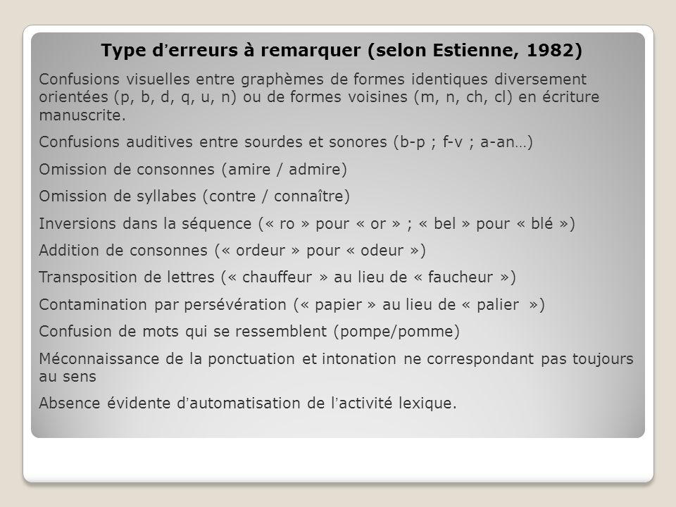 Type d'erreurs à remarquer (selon Estienne, 1982)