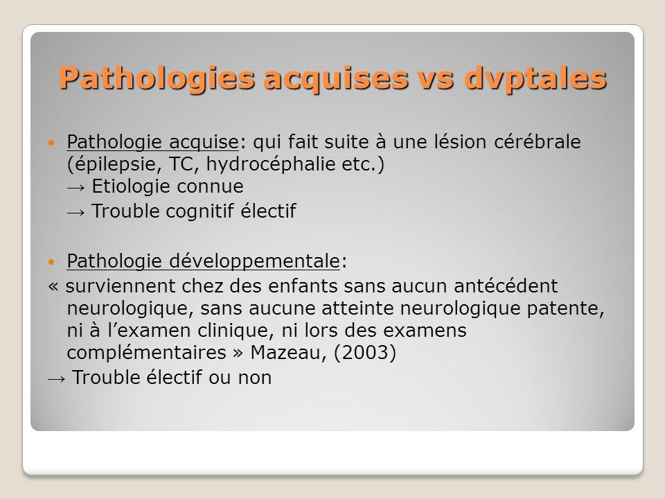 Pathologies acquises vs dvptales