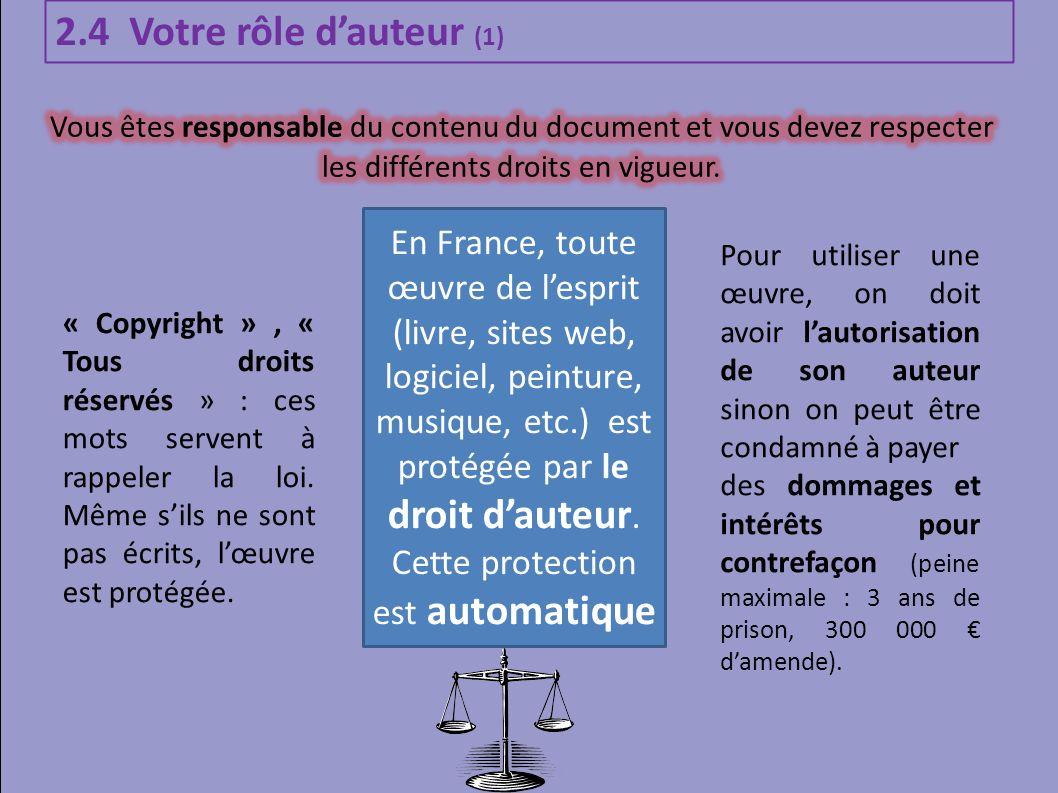 2.4 Votre rôle d'auteur (1) Vous êtes responsable du contenu du document et vous devez respecter les différents droits en vigueur.