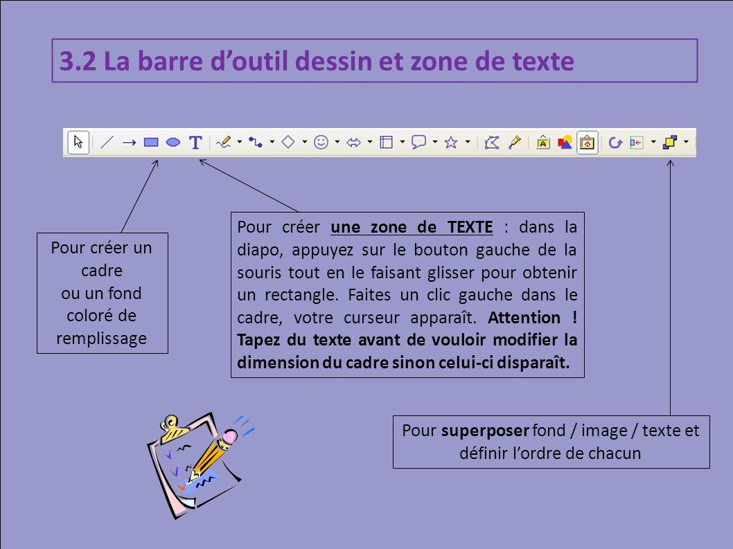 3.2 La barre d'outil dessin et zone de texte