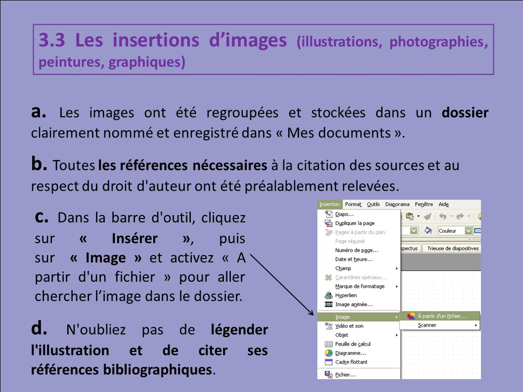 3.3 Les insertions d'images (illustrations, photographies, peintures, graphiques)