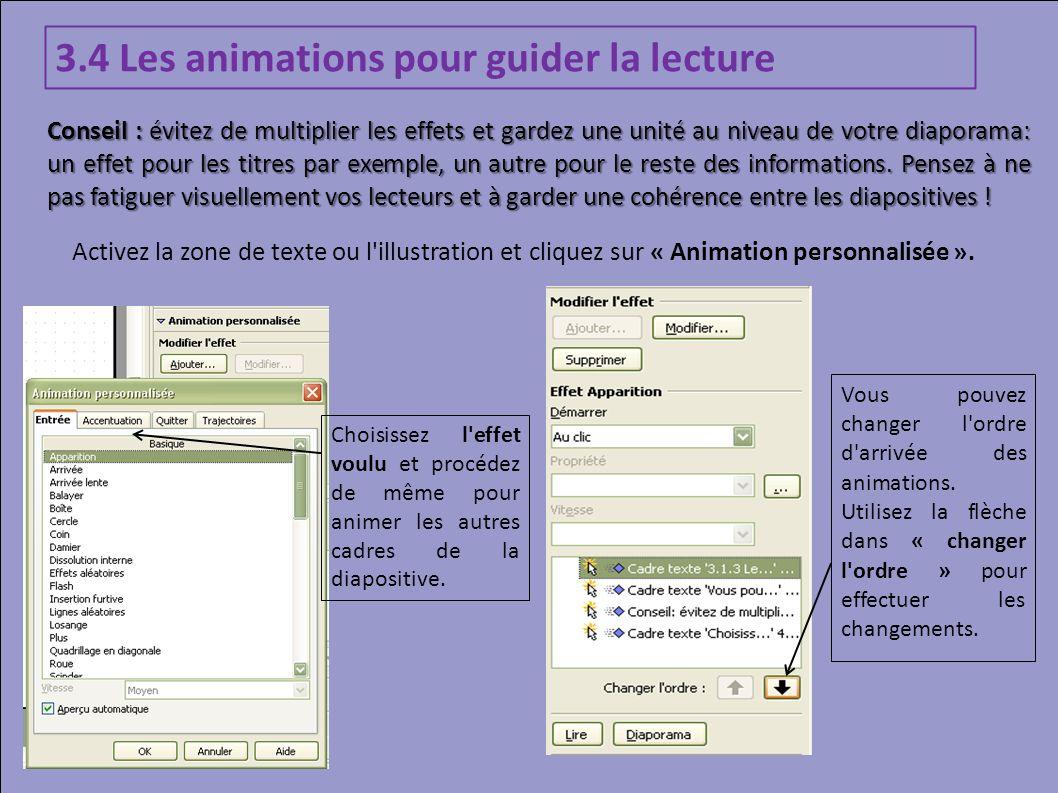 3.4 Les animations pour guider la lecture