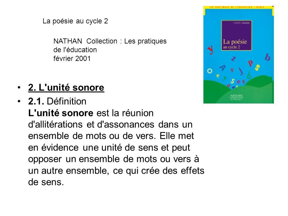 La poésie au cycle 2 NATHAN Collection : Les pratiques de l éducation février 2001. 2. L unité sonore.