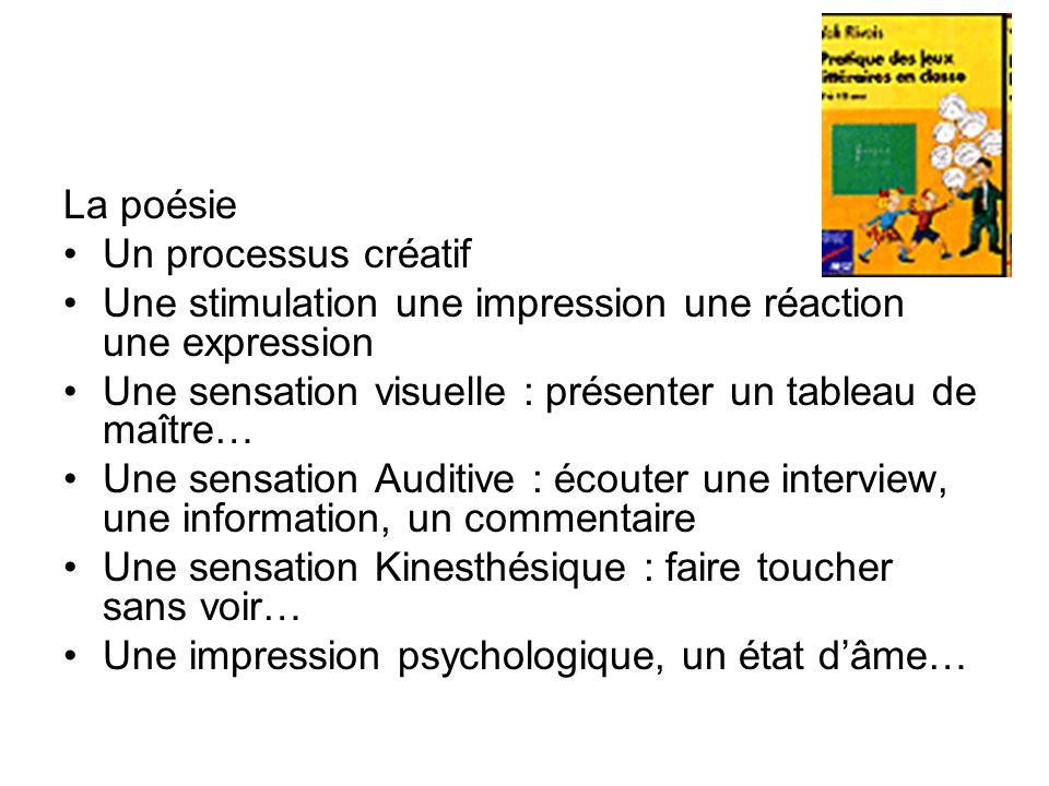 La poésie Un processus créatif. Une stimulation une impression une réaction une expression.