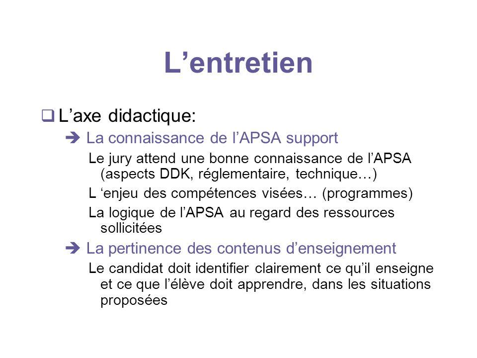 L'entretien L'axe didactique:  La connaissance de l'APSA support